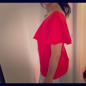 One Shoulder Red Top